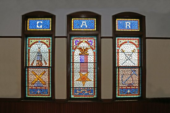 Vernon Rockville, CT: GAR stained glass windows
