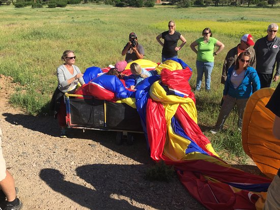 Rocky Mountain Balloon Adventures, LLC.: packing it up and rolling around on it in the wagon to get the air out