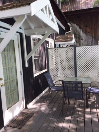 Henniker, NH: Our beautiful deck which leads out to the pool