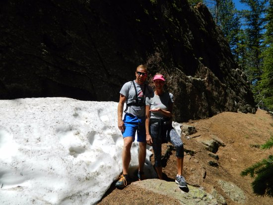 Divide, CO: Found some snow once we hiked up the falls