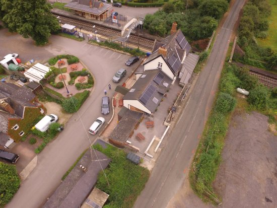 Culham, UK: Aerial view of Public House, Garden, Parking and Station