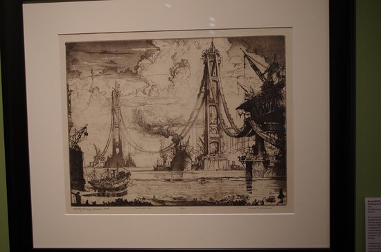 The Richard and Jane Manoogian Mackinac Art Museum: Sketch of construction of Mackinac Bridge in mid 1950s