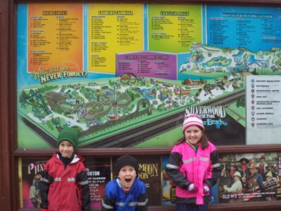 Silverwood Theme Park: Kids can't wait to start riding the coasters!
