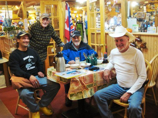 Tok, AK: Hugh Neff, Bill Arpino, and Fred Agree: Iditarod finishers, with the musician Hobo Jim.