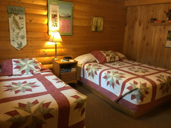 Tok, AK: Our Fireweed-themed handicapped cabin.