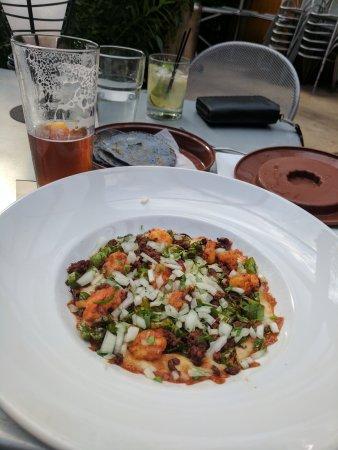 Maya Del Sol: Carne asada, outside patio, queso fon dido, fish tacos