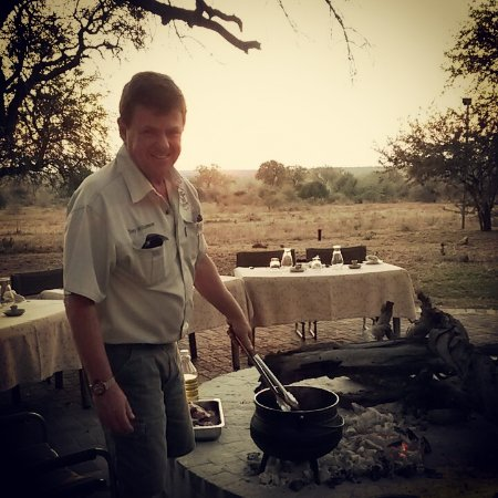 Balule Nature Reserve, South Africa: Tony making Potjie in the Boma