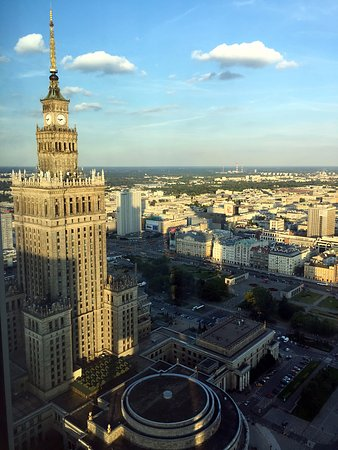 InterContinental Hotel Warsaw: The Palace of Culture and Science taken from the top floor