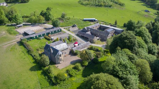Selkirk, UK: House and grounds taken from drone camera