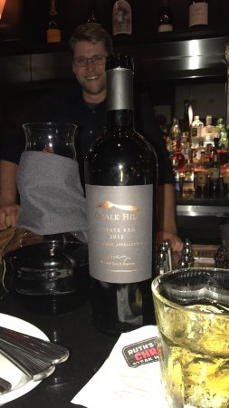 Ruth's Chris Steak House: Ben and his wine recommendation, an excellent Chalk Hill blend!