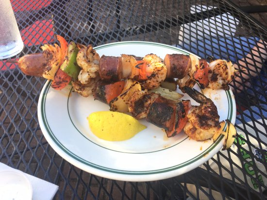 Saint Helens, OR: These delicious shrimp & sausage skewers are available when the patio is open.
