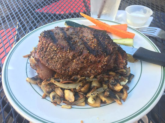 Saint Helens, OR: A perfect top sirloin with grilled mushrooms and onions.