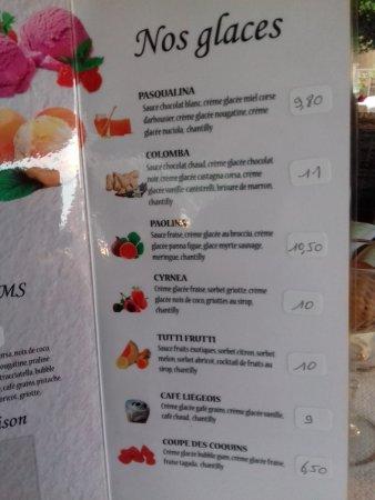 Calacuccia, فرنسا: carte des glaces (1)
