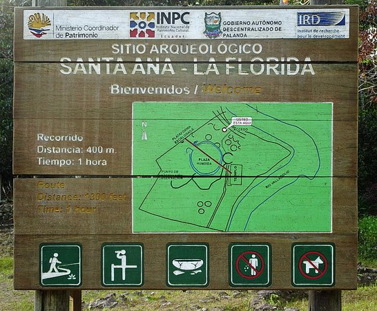 Zamora-Chinchipe Province, Équateur : Sign near the archaeological site explaining the layout