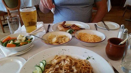 Moitas: Top - Chicken Piripiri with veg, potatoes and rice, bottom spaghetti