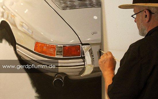 Schramberg, Alemania: Arbeit an Porsche 911, Öl auf Leinwand