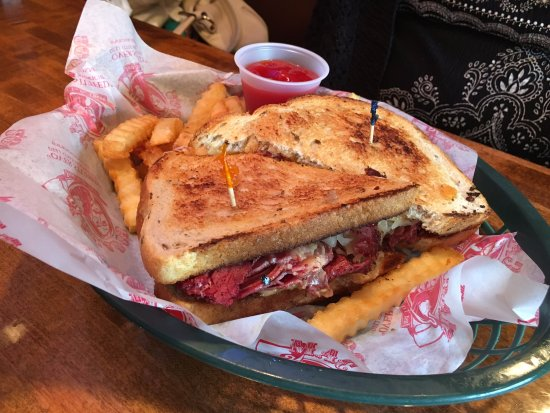 Macado's: Reuben with Fries! Tasty and HOT when served! Nice and Cheesy!