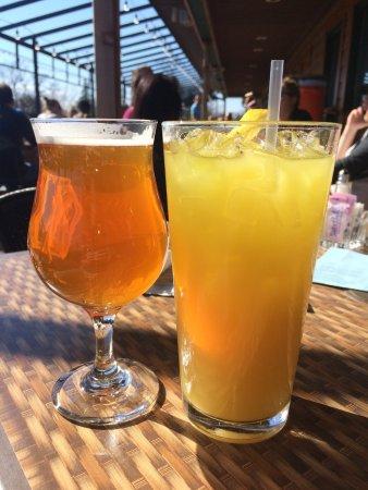East Grand Forks, MN: Beverages on the deck at the Blue Moose!