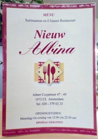 The menu foto van nieuw albina amsterdam tripadvisor nieuw albina the menu publicscrutiny Image collections