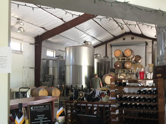 The interior at Drytown Cellars gives you an excellent view of the barrel room.