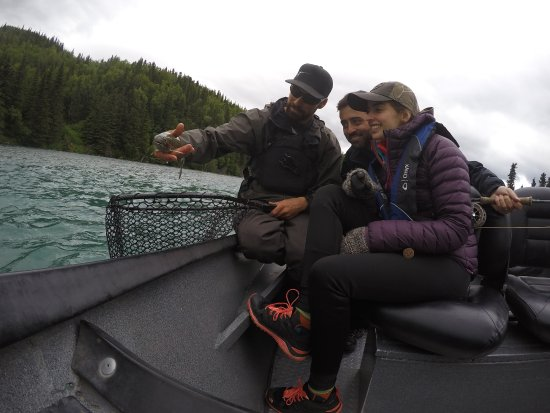 Cooper Landing, AK: All the way from Spain admiring a wild fish!
