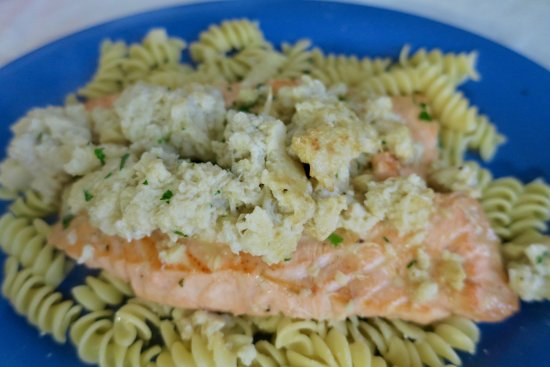 Absecon, NJ: Salmon scampi with stuffed crab cakes