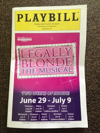 Marietta, GA: Play bill for Legally Blonde, showtimes