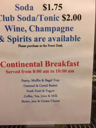 Maritime Inn: breakfast options- (signage)