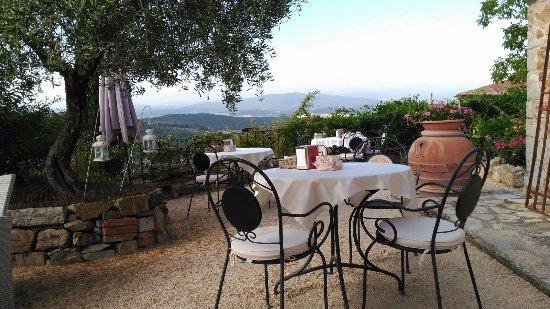 Podere Palazzolo: Terraza a la luz del dia. Desayunos espectaculares.