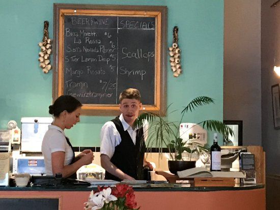 Mount Morris, NY: the fine wait staffers and specials board