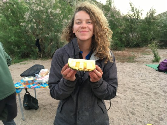 Arizona Rafting by Wilderness Aware: Fresh pineapple boats. Served with a smile at breakfast