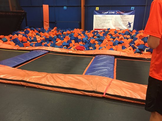 Sky Zone Trampoline Park: Diving into foam blocks