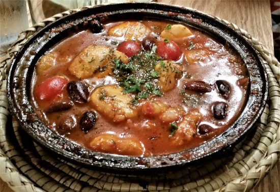 Troy, NY: Scallops, Fish and Shrimp with black olives in tomato chermoula.