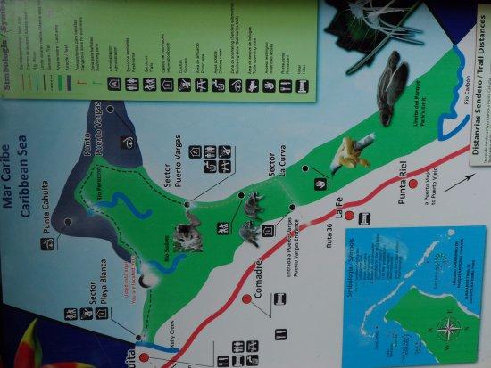 Cahuita, Costa Rica: Карта парка Кауито и кого можно встретить
