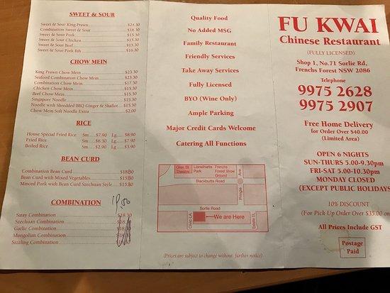 Frenchs Forest, Australia: Take away menu