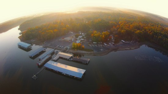 Camden, TN: Marina at sunrise arial