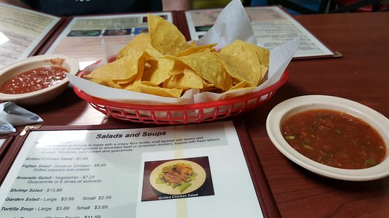 Bushnell, FL: Free chips and mild and hot salsa to start. Very good