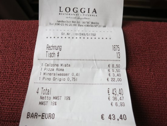 Loggia: Bill with charged mineral water 0,4 l