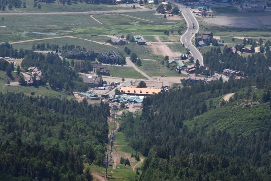 Angel Fire Resort: View of the resort from up above on the chair lift ride.