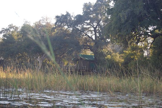 Pom Pom Camp: Onze tent vanaf het water