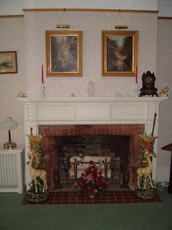 Montour Falls, NY: Parlor  - Hope paintings above the fireplace