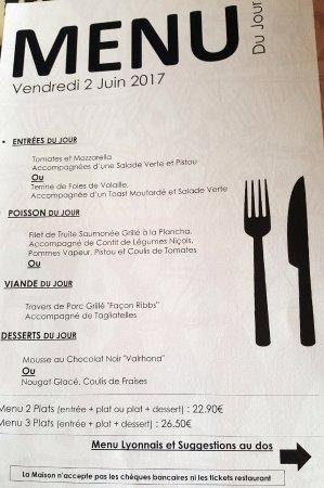 Argenson: menu
