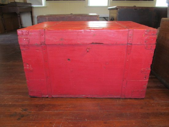Hillsboro, KS: Traveling trunk of George and Eva Unruh when they immigrated to this area in 1874.