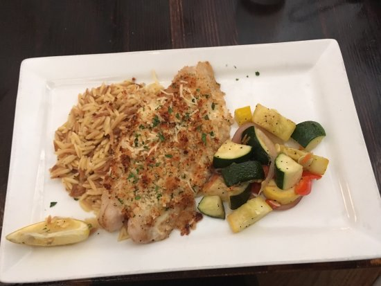 Florissant, MO: Grouper entre with risotto and vegetables