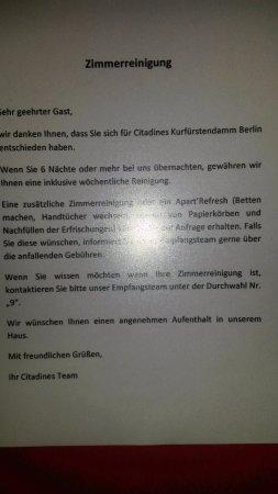 Citadines Kurfuerstendamm Berlin: Info im Fahrstuhl