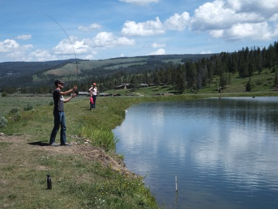 Gallatin Gateway, MT: fly fishing at the pond