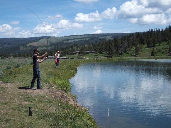 Nine Quarter Circle Ranch: fly fishing at the pond