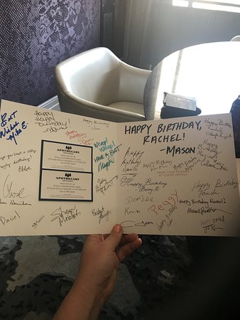 Loews Minneapolis Hotel: birthday card signed by front desk staff