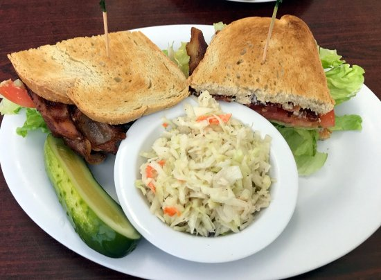 Ally's Comfort Cafe : bacon lettuce & tomato sandwich with vinegar cole slaw