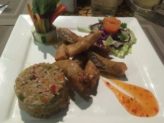 Toko's Restaurant: Pork spring rolls with fried rice